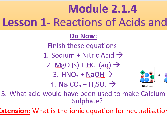A Level Chemistry OCR A Module 2.1.4- Lesson 1- Acids and Alkalis