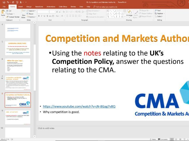 18. CMA - Competition Regulation (Slides, Activities and Notes)  - A-Level Economics - Theme 3