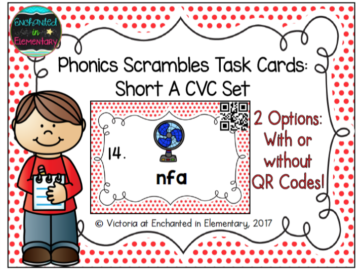 Phonics Scrambles Task Cards: Short A CVC Set