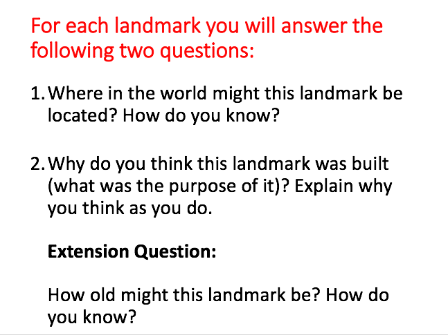 Famous Landmarks - Inference Questions with Pictures