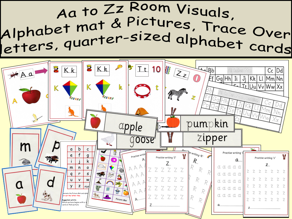 Aa to Zz Room Visuals, quarter page a-z cards, Aa-Zz trace over letters,  a-z pictures, word cards