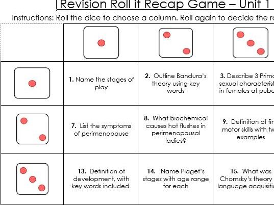 BTEC Level 3 Health and Social Care Unit 1 Human Lifespan revision resources, games and activities