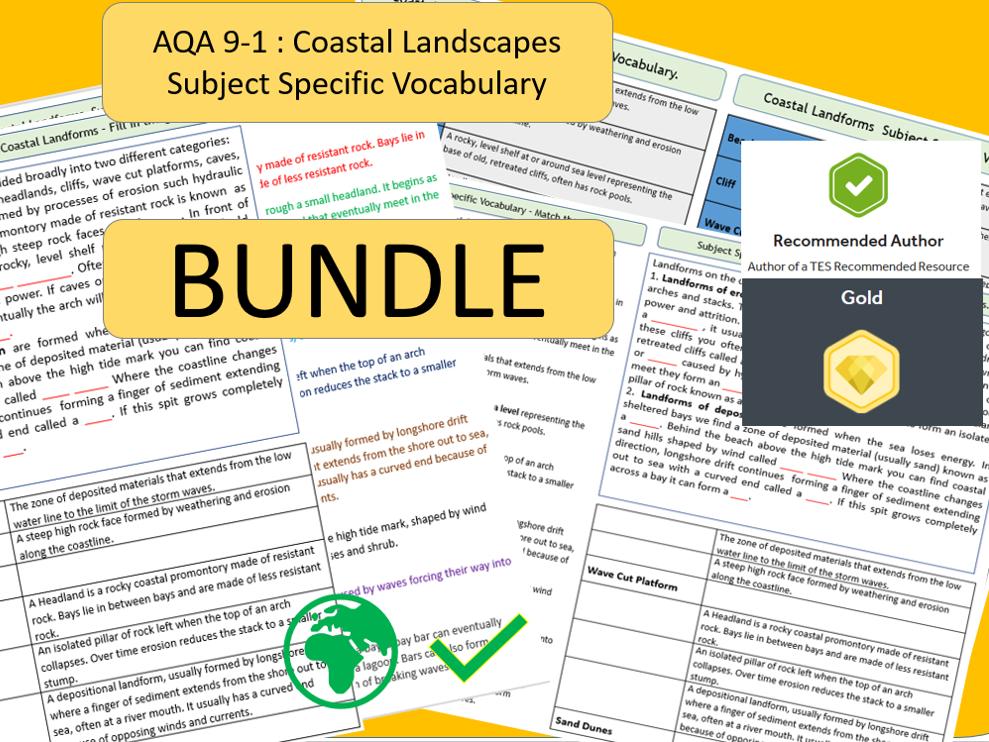 AQA 9-1 - Coastal Landscapes Bundle, Key Vocabulary Literacy Activity Sheets.