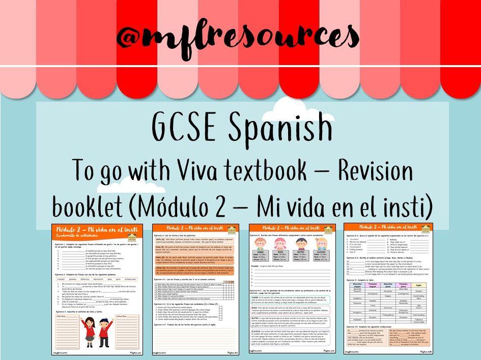 GCSE Spanish - Módulo 2 - Mi vida en el insti - Revision booklet with answers
