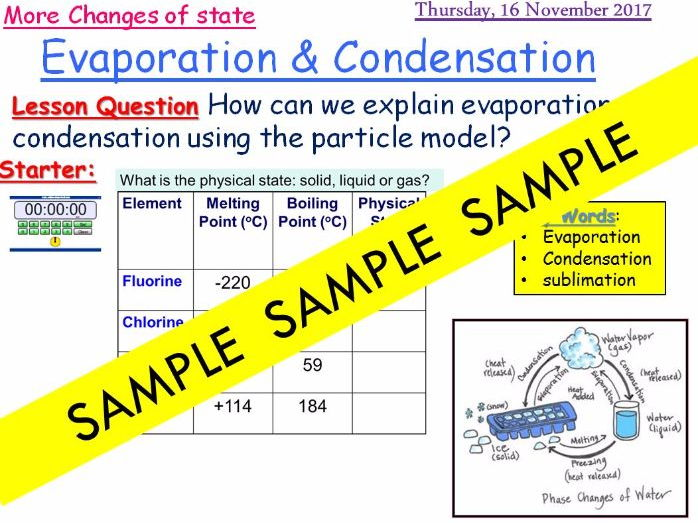 evaporation and condensation Activate 5.1.5 KS3 lesson 2017