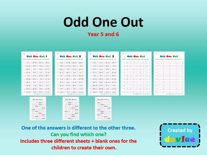 Odd One Out for Year 5 and 6 with Addition, Subtraction, Multiplication and Division Questions