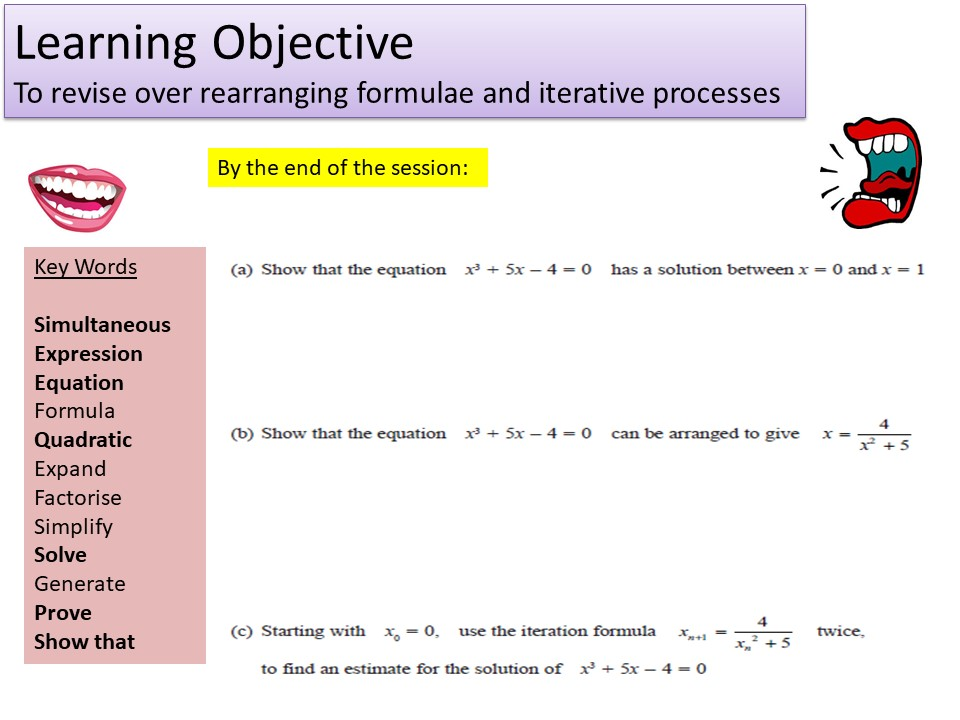 GCSE 1-9 Iteration & Harder Rearranging Formula Revision