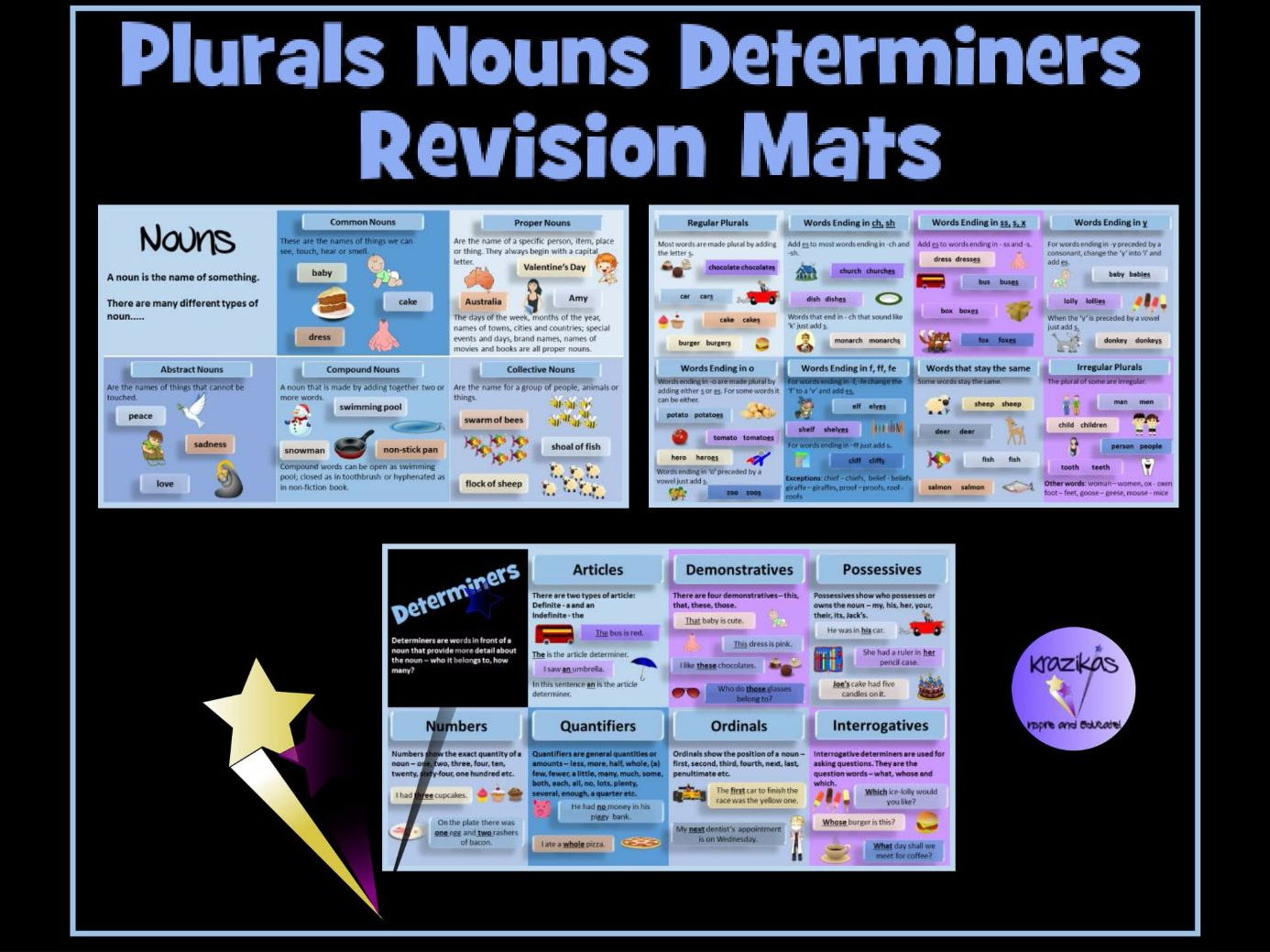 Plurals, Nouns, Pronouns and Determiners Revision Mats - Ideal for English SATS Revision