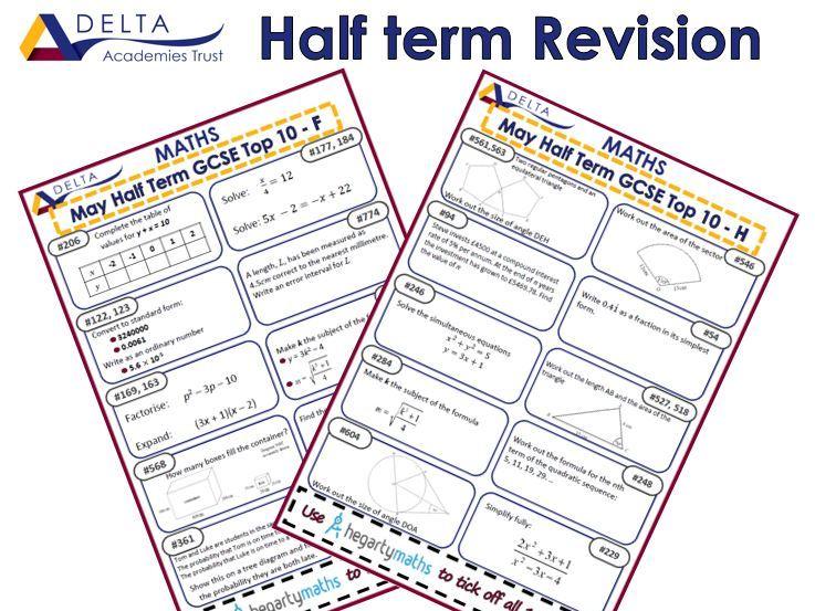 GCSE Half Term Top 10s
