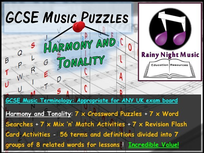 GCSE MUSIC TERMINOLOGY PUZZLES – HARMONY AND TONALITY – SUITED TO ALL UK GCSE MUSIC SPECS