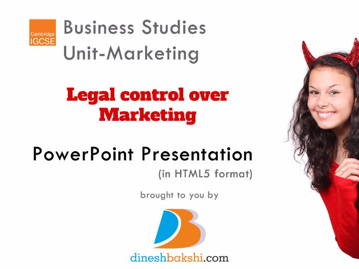 Legal controls related to Marketing- IGCSE Business Studies