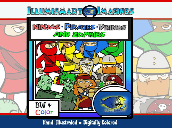 Ninjas, Pirates, Vikings, & Zombies Zany Middle School ClipArt-30 Pcs. BW/Color