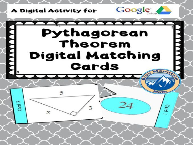 Pythagorean Theorem Digital Matching Cards