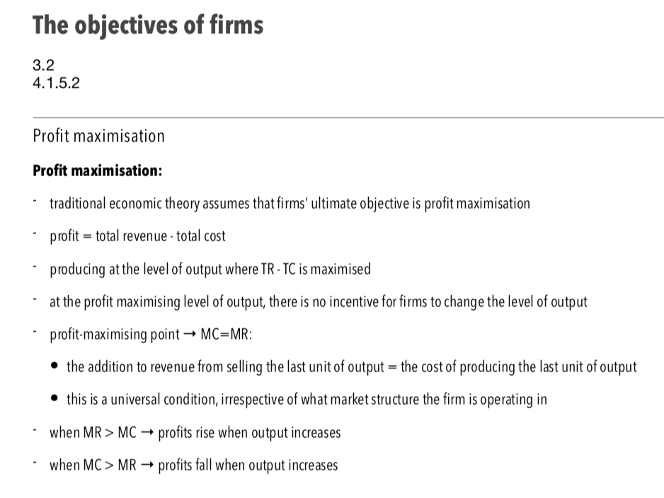 Objectives of Firms - A Level Economics