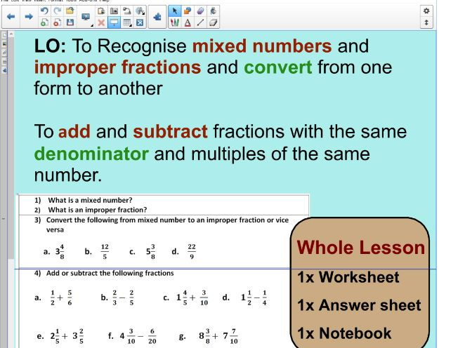 Whole lesson converting fractions mixed to improper fractions cover image ibookread