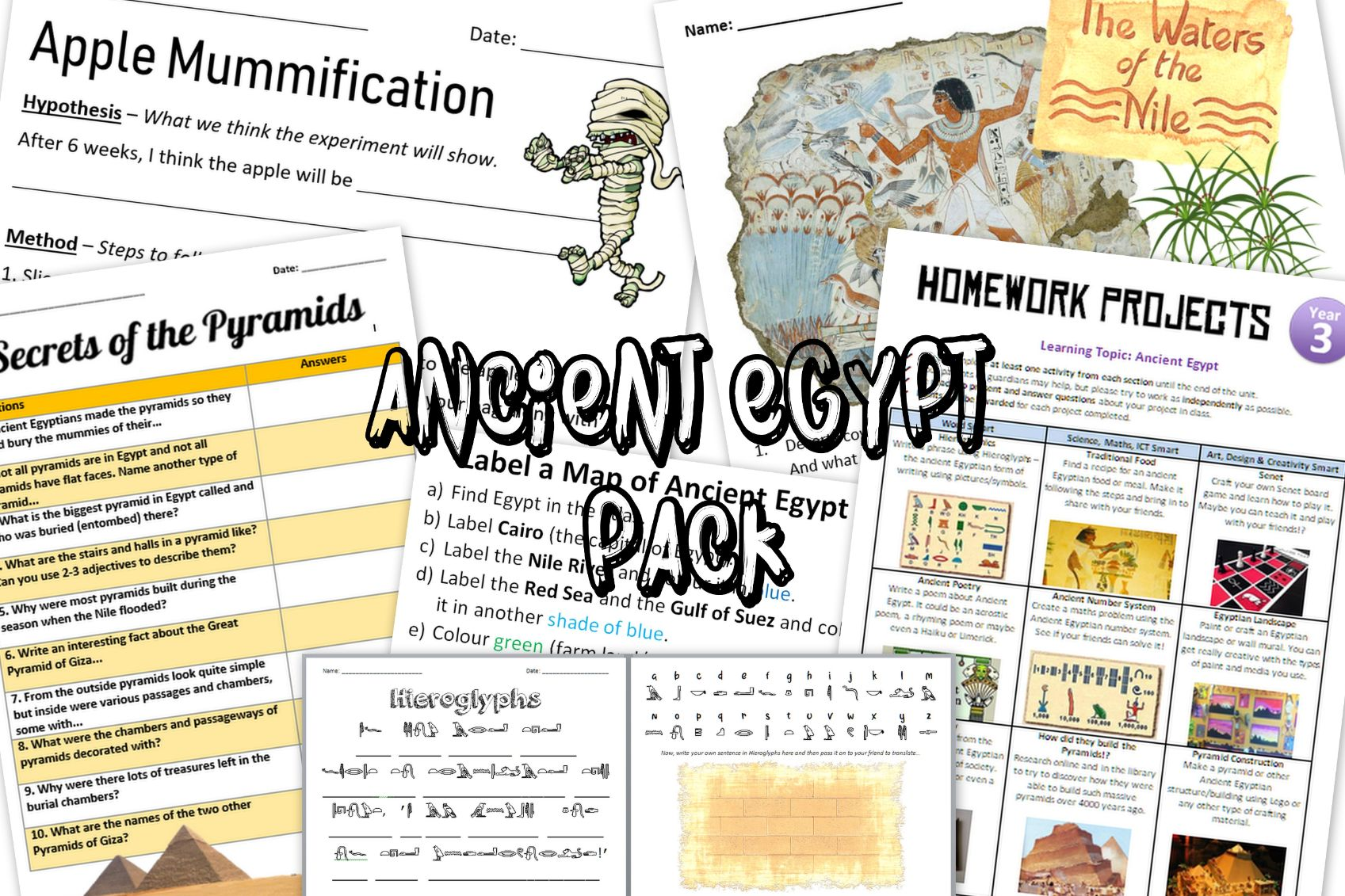 Ancient Egypt Worksheets and Activties Pack