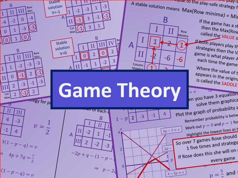 Game theory for zero sum games - AS level Further Maths Discrete