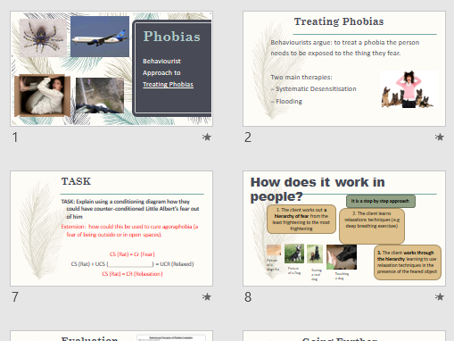 PHOBIAS TREATMENTS - Full lesson for AQA Psychology (powerpoint and activities)