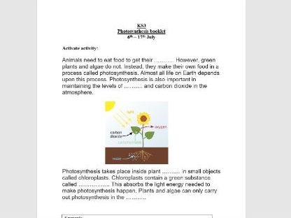 Photosynthesis home work booklet