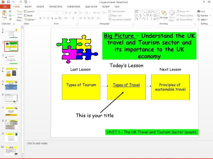 Travel and Tourism BTEC first level 2 - UNIT 1 - lesson 3 - types of travel