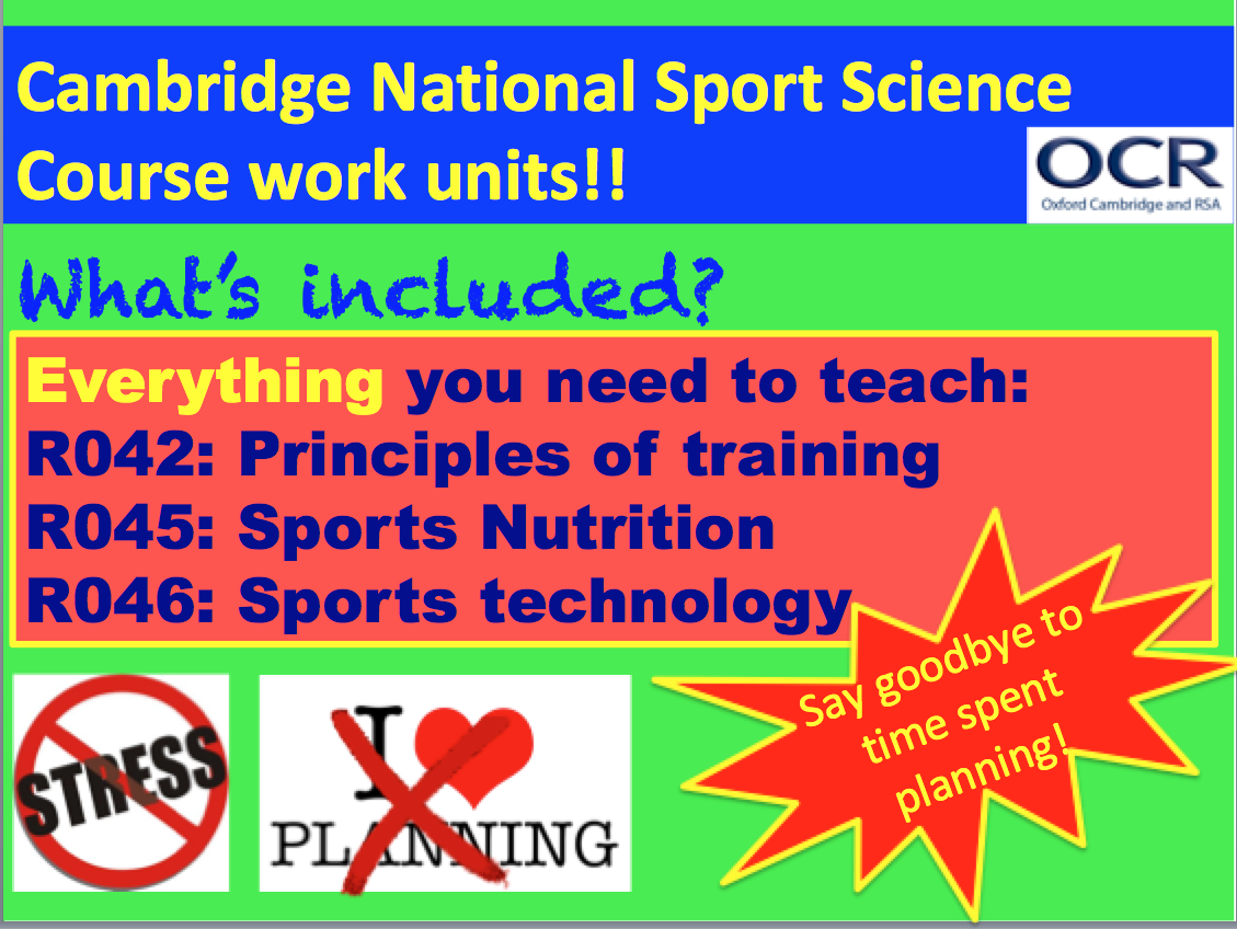 Cambridge National Sports Science R042, R045 and R046 fully planned units ready to teach!