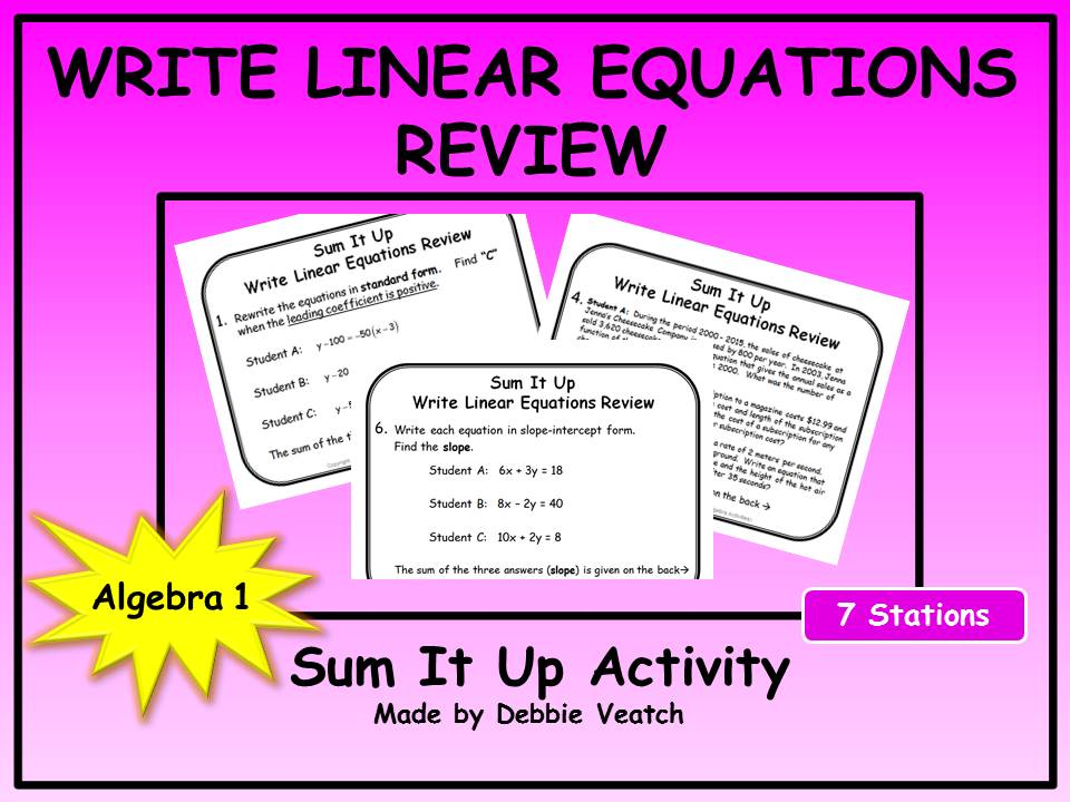 Write Linear Equations Review Sum It Up Activity (FREE)