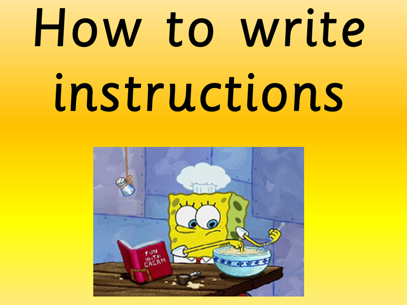 Writing instructions (Recipes) Two for one. Follow up lesson creative writing.