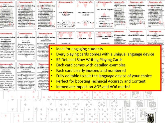 52 Playing Cards: Creative Slow Writing Prompts