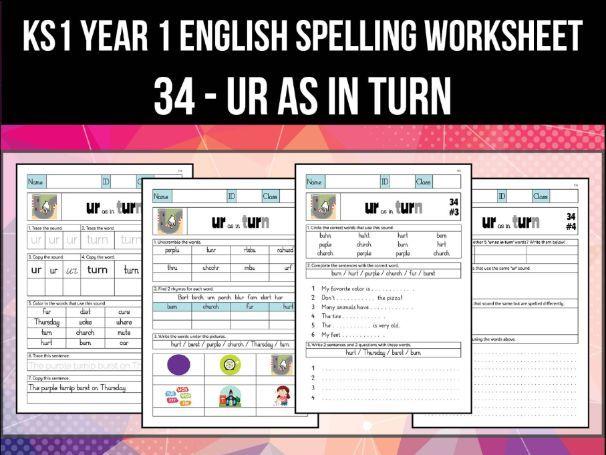 Spelling & Phonics Worksheet - əː sound spelled UR