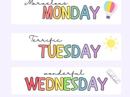 Pastel Google Form Headers - Days of the Week