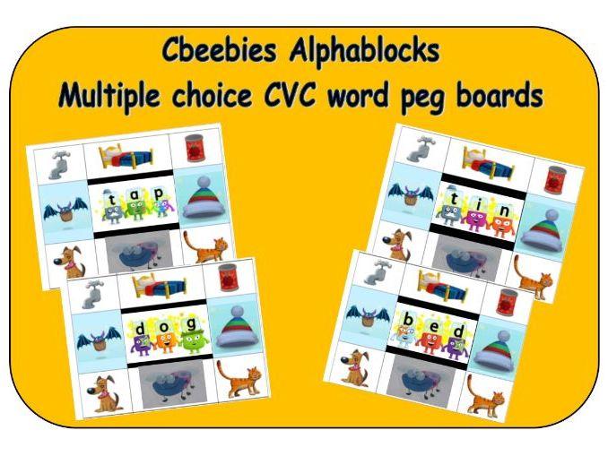 Cbeebies Alphablocks - Multiple choice word peg board match