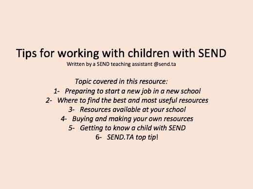 SEND support and tips written by a  SEND teaching assistant!