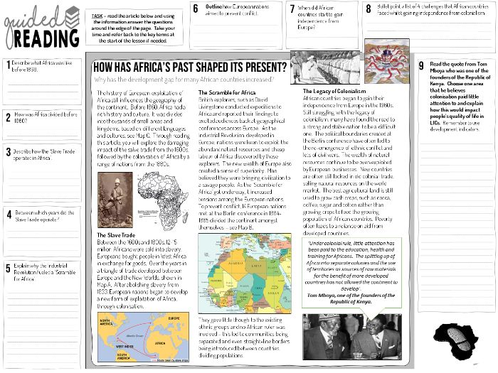 The Scramble for Africa Guided Reading Worksheet
