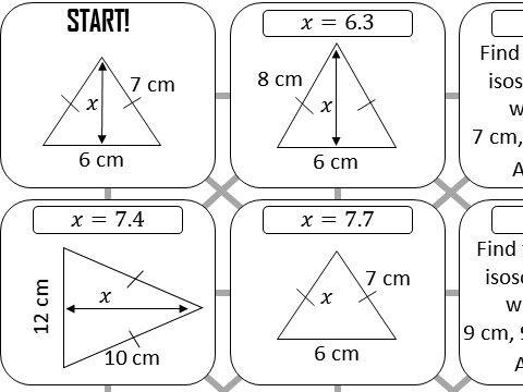 Pythagoras with Isosceles Triangles - Answer Maze