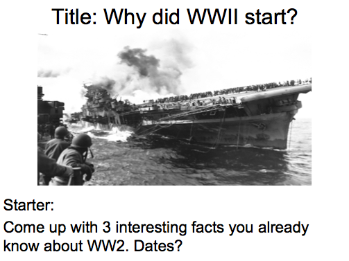 Year 9 - WW2 Lesson 1 & 2 Why did WW2 start?