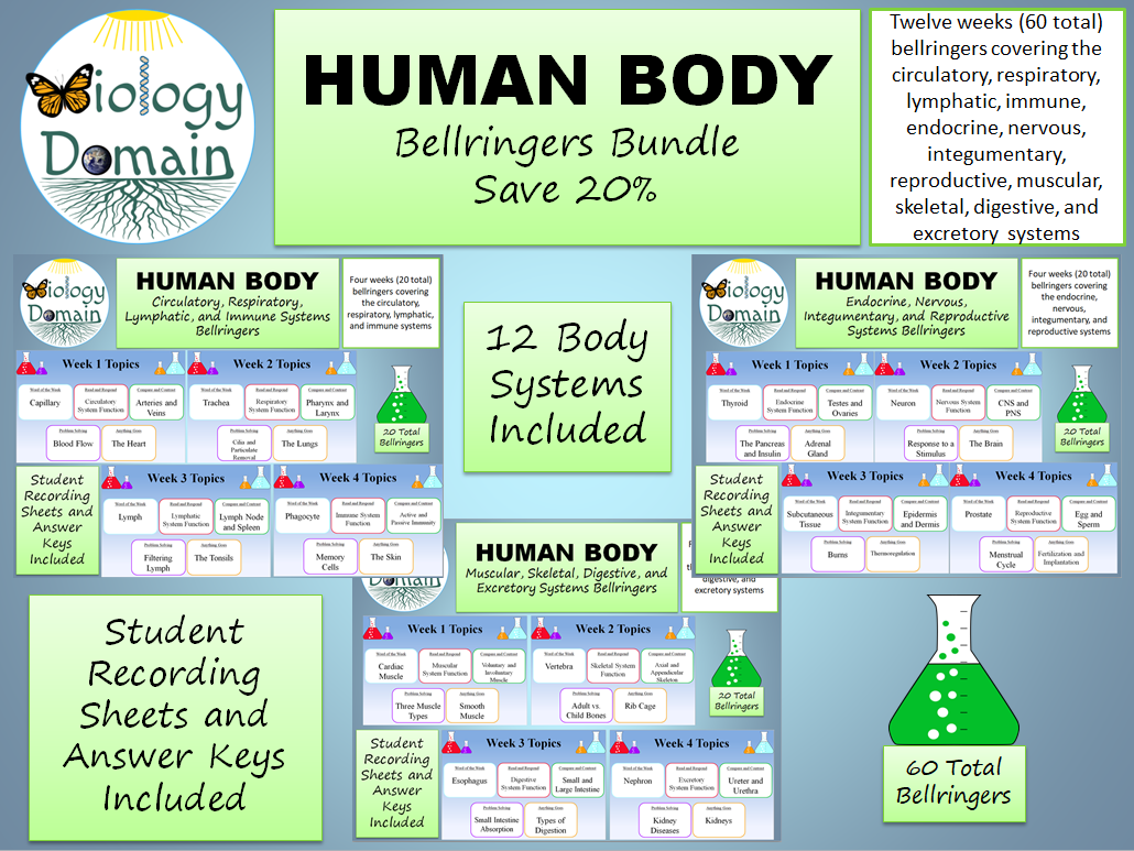 Twelve Weeks of Human Body Bell Ringers Warm Ups Bundle