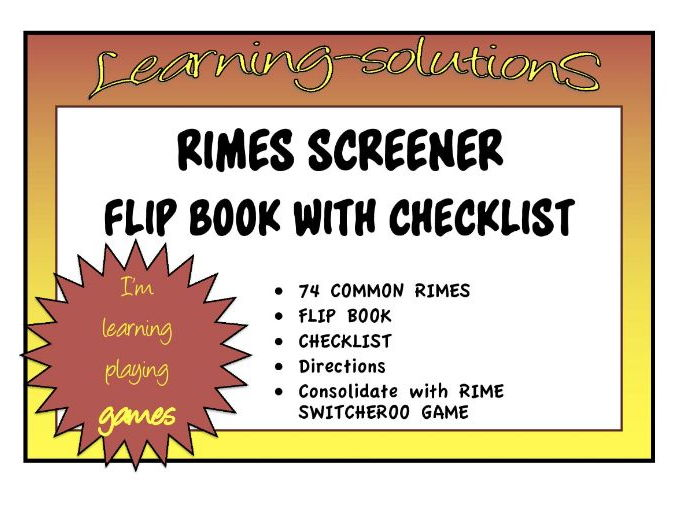 RIMES - Screener and Flip Book for TARGETED INTERVENTION