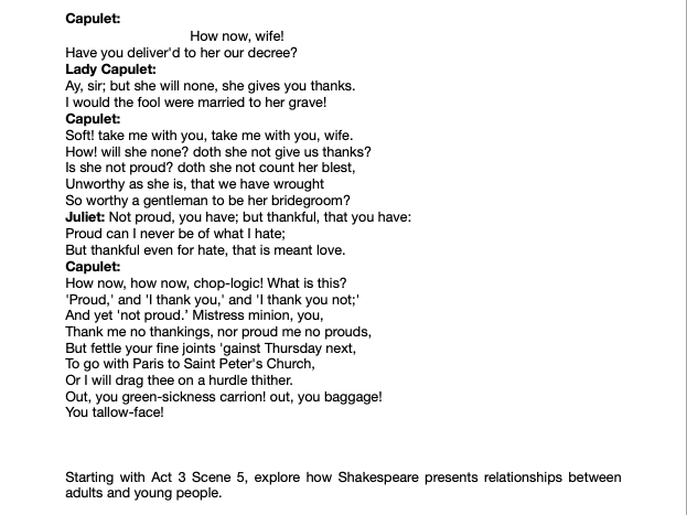 GRADE 9 ESSAY ROMEO AND JULIET FAMILIAL RELATIONSHIPS