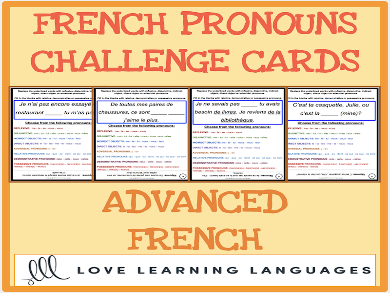 Advanced French Grammar: 50 Pronoun Challenge Cards
