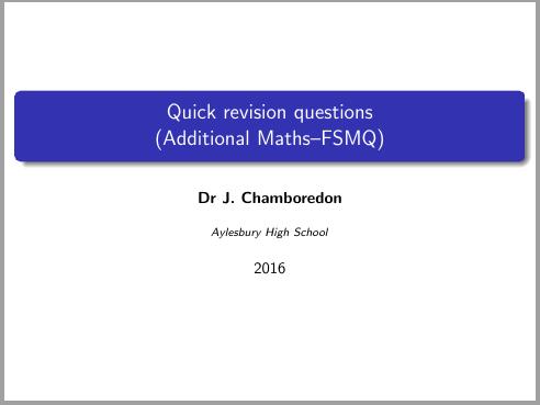 FSMQ revision questions