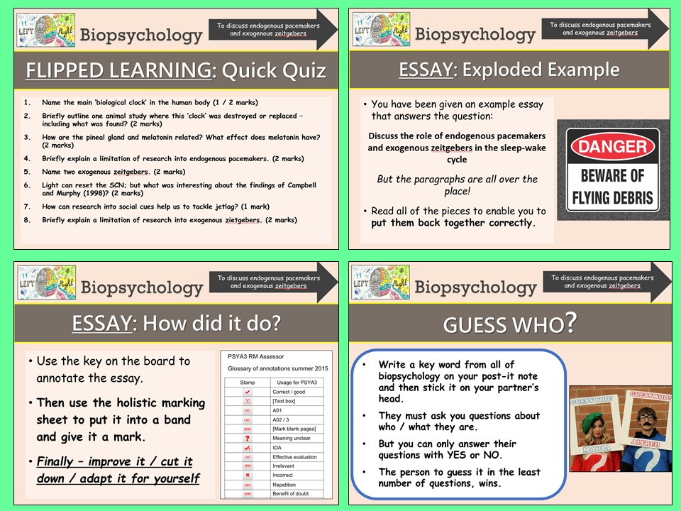 AQA A-level Psychology - Endogenous Pacemakers and Exogenous Zeitgebers - Biopsychology Topic