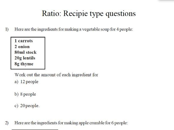 maths worksheet –  recipe type ratio questions