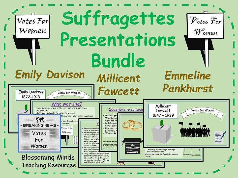 Suffragettes Presentations - Millicent Fawcett, Emmeline Pankhurst, Emily Davison - Primary