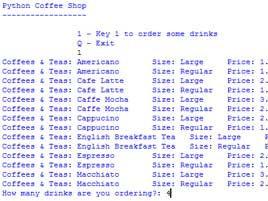 "GCSE Computing - Python Project ""Coffee Shop"""