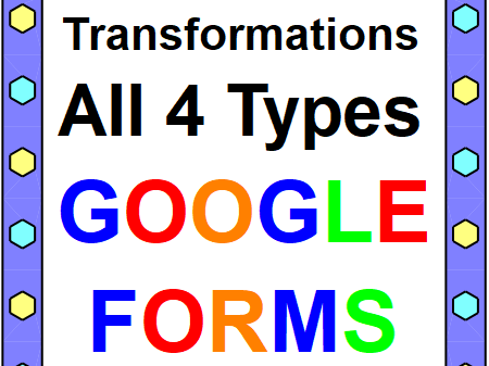 TRANSFORMATIONS (ALL 4 TYPES): GOOGLE FORMS QUIZ (PROB. 20) DISTANCE LEARNING