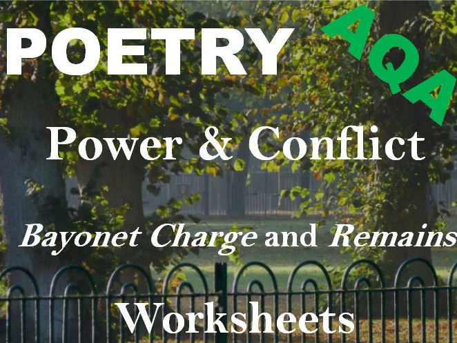 AQA Power and Conflict Poetry - Comparing 'Bayonet Charge' and 'Remains' -  Revision Worksheets