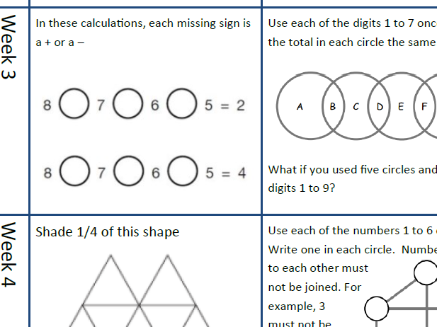 Year 3 and 4 Mathematics Challenges for every day of the Summer Holidays