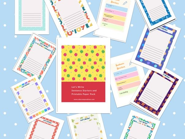 Let's Write Sentence Starter and Printable Paper Pack 2