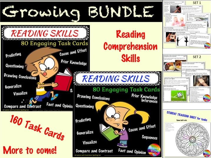 Printable Literacy Centre Activities Task Cards Reading Skills BUNDLE