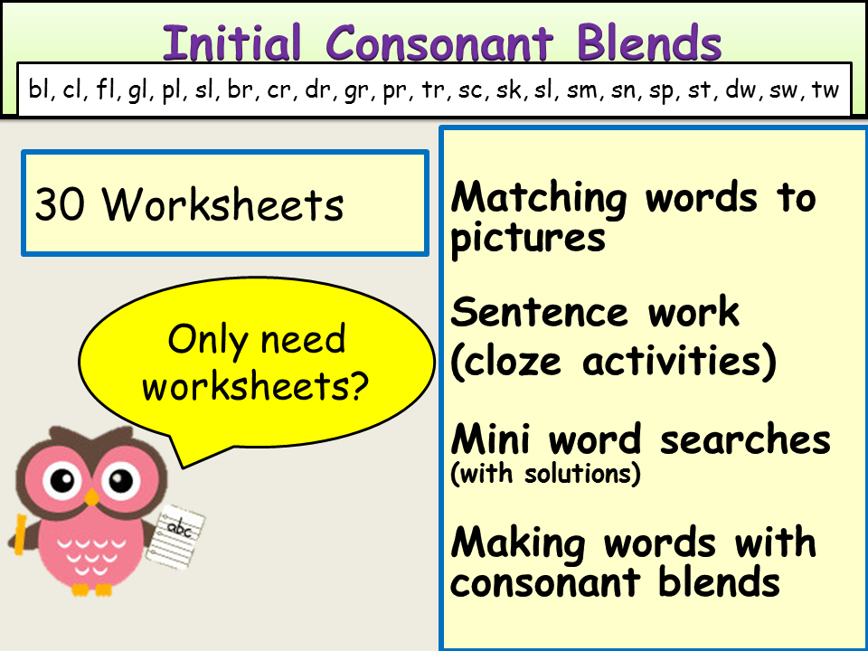 Consonant Blends Or Clusters Initial Consonant Blends Worksheets By